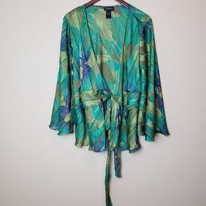 LANE BRYANT Green Flowy Wrap Blouse